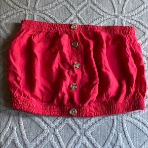 Tops - Red tube top with buttons